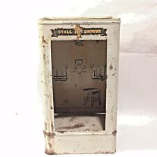 Vtg Working 50`s WOLVERINE Bathroom Fixture Stall Shower TIN LITHO Dollhouse Toy