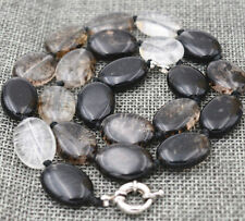 13x18mm natural Black tourmaline Flat Oval Gemstone Beads Necklace 18 ""