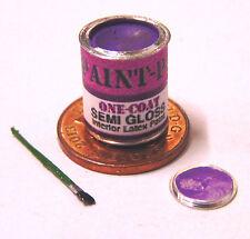 Dolls House Decorating Accessory Tin of Purple Paint & Brush Miniature Accessory