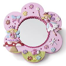 Pink Glittery Kids Girls FLOWER FAIRY Wall MIRROR - LUCY LOCKET