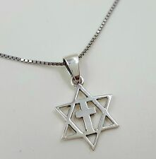 """925 Sterling Silver Star Of David With Cross MESSIANIC Pendant + 18"""" Necklace"""