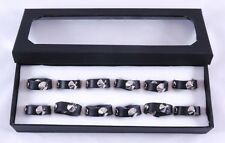 New Wholesale 12 Piece Black Leather Biker Style Spike Rings in Display #R1229