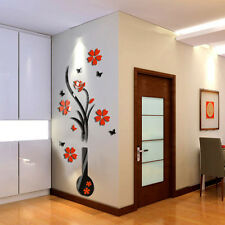 3D DIY Vase Red Flower Vase Plum Tree Wall Sticker Home Room TV Decor Vinyl Art