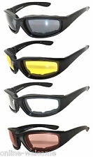 4 PAIR COMBO Padded Sunglasses Motorcycle Riding Glasses Clear Yellow Smoke Lens