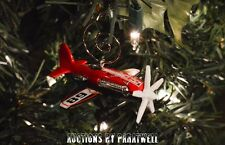 Fire Stunt Airplane Single Prop Custom Christmas Ornament 1/64 Adorno Race Plane