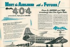 1950 Martin Aircraft Ad 4-0-4 Airliner Airplane Vintage Air Travel Advertisement