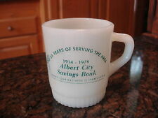 Vintage Fireking Adv Stcakable Coffee Mug ALBERT CITY SAVINGS BANK 1914-1979
