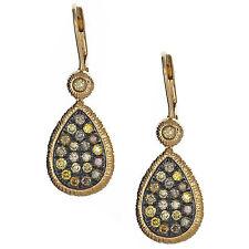 1.18CTW Fancy Diamond Pear Shape Earring 14K Yellow Gold Hammered Drop Dangle