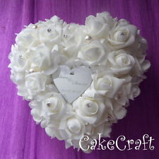 Personalised white rose wedding ring cushion pillow with acrylic loveheart