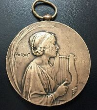 Art Nouveau / Woman playing on lyre music / Bronze Medal by Adolphe Rivet / M72