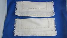 paire d ancien porte serviettes en coton epoque 1900 broderie ajourés