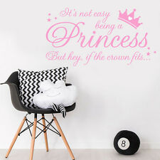It's Not Easy Being A Princess Wall Quote GIRLS Sticker DECAL Nursery BEDROOM
