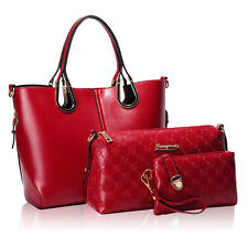 Luxury Women's PU Combo Leather Handbag+Shoulder Bag+Purse+Card Holder 4pcs