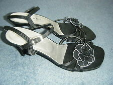 "^Black satin MISCHIEF ankle strap EVENING/PARTY sandal 3"" heel UK 6 E 39 1 use"