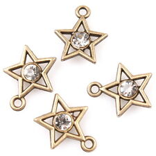 60pcs 146260 Bronze Tone Clear Rhinestone Star Charm Alloy Pendant For Necklace