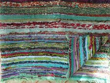Hand Woven Rag Rugs Indian Dhurrie Reversible Carpet Boho Throw Ethnic Area Rug