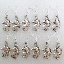 6Pair Beautiful Tibet Silver Horse's Head Earrings D1950