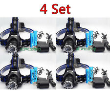4Set XM-L T6 LED HEADLIGHT HEAD LIGHT LAMP Zoomable Rechargeable 6000LM BATTERY