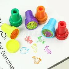 Lot 6 Kids Craft Mixed Dinosaur Ink Stamper Stamps Art Party Favor xmas Gift Toy