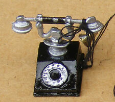 1:12 Scale Black Old Style Telephone Dolls House Miniature Accessory Phone 200