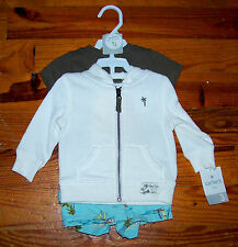 New! Boys CARTER'S Ivory Blue Green Sailboat Hoodie Shorts Outfit 0-3 Months