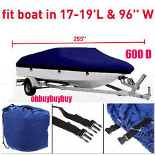 17 18 19 Ft Waterproof Heavy Duty Fabric Trailerable V shape Boat Cover Blue OHB