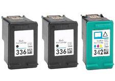 3 tinta cartucho XXL HP 336 & 342 Photosmart 2500 c3150 c3170 c3175 c3180 NonOem