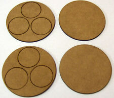 2mm MDF 60mm round bases for 3 figures, set of 2 suitable for Bolt Action
