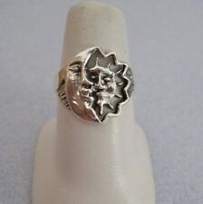 Mexican 925 Silver Taxco Oxidized Cut Out MOON SUN ECLIPSE Face Smile Ring  8.25