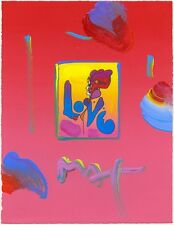 "PETER MAX - Love - ORIGINAL Mixed Media 8.5""x11"" with Certificate MAKE AN OFFER"