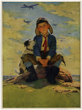 1940s Eugene Iverd Boy Pilot & Dog Aviation Art Print Just Wait till I Grow Up