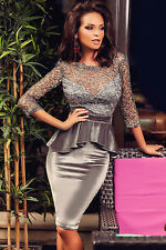 Grey Hollowed Out Lace Velvet Peplum Party Evening Cocktail Dress Size UK 10-12