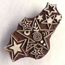Hand-carved Indian Woodblock Stamp - Stars Multi