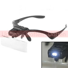 Glass Head Magnifying Magnifier Jeweler Eye Jewelry Loupe Loop Led Light head