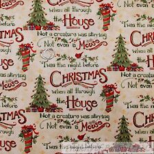 BonEful FABRIC FQ Cotton Quilt Twas the Night Before Xmas Tree Red Cardinal Girl