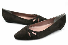 EMILY'S CLOSET Brown Suede Leather Chic Cut Out Ballet Flats 12WW Extra Wide