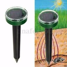 SOLAR POWERED GROUND RODENT MOLE MICE MOUSE RAT REPELLER ULTRA SONIC OUTDOOR NEW
