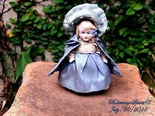 ANTIQUE VINTAGE GERMANY BISQUE GIRL DOUBLE JOINTED BLUE DRESS MINIATURE 4'' DOLL