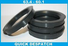 4 X 63.4 - 60.1 ALLOY WHEEL LOCATING HUB SPIGOT RINGS FIT RENAULT ALLIANCE