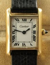 LADIES VINTAGE CARTIER 21MM 18K GOLD ELECTROPLATED MANUAL WIND WATCH