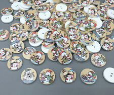 50X Christmas snowman Wooden Buttons Sewing scrapbooking decoration crafts 20mm
