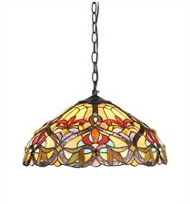 "Victorian Downward Hanging Stained Glass Ceiling Pendant Light Lamp 18"" Shade"