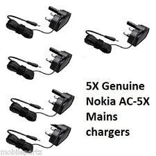5 x Genuine Nokia AC-5X Thin Pin Mains Chargers for Phones & Bluetooth Headsets