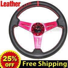 """350mm 14"""" LEATHER Drift Racing Rally Steering Wheel RED Stitch Universal RED"""