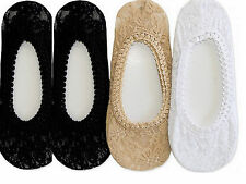 4 Pairs Lace Foot Covers Footies Socks No Low Show Size 9-11 Peds Sexy Liners