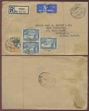 GOLD COAST AKROSO REGISTERED AIRMAIL 1950 SWEDRU OVAL TRANSIT 6d + 3 x 3d