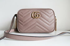 BN GUCCI 'gg marmont camera mini quilted leather shoulder bag' powder chain gold