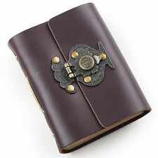 Ancicraft Pocket Leather Journal with Vintage Flower Vase Lock A7 Blank Paper