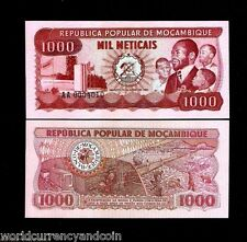 MOZAMBIQUE 1000 1,000 METICAIS P128 1980 MACHEL MINING UNC TRAIN MONEY BANK NOTE