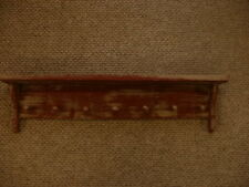 Red Weathered Look 7 Peg Shelf Primitive (Rustic) Wood